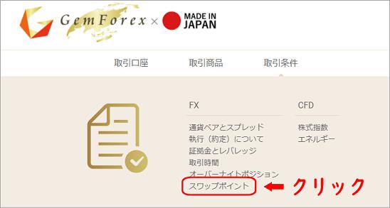 GEMFOREXのホームページ画面
